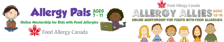 bannière publicitaire du programme de mentorat Allergy Pals et Allergy Allies