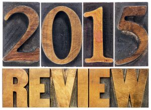2015 review - annual review or summary of the recent year - isolated text in letterpress wood type blocks