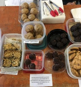 Picture of Anita and Alyssa's bake sale items showing allergy-friendly treats