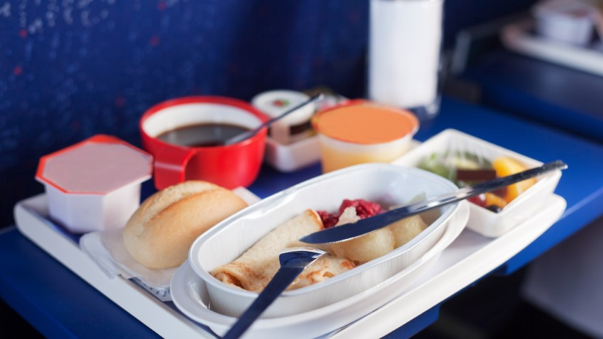 Tray of food on the plane.