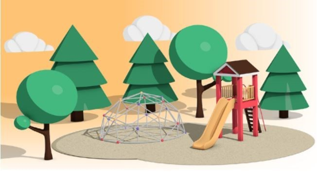 Allergy aware course flyer with graphic of childcare playground.