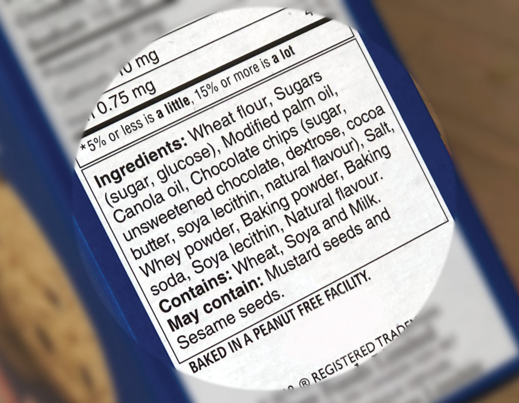 Product ingredient label