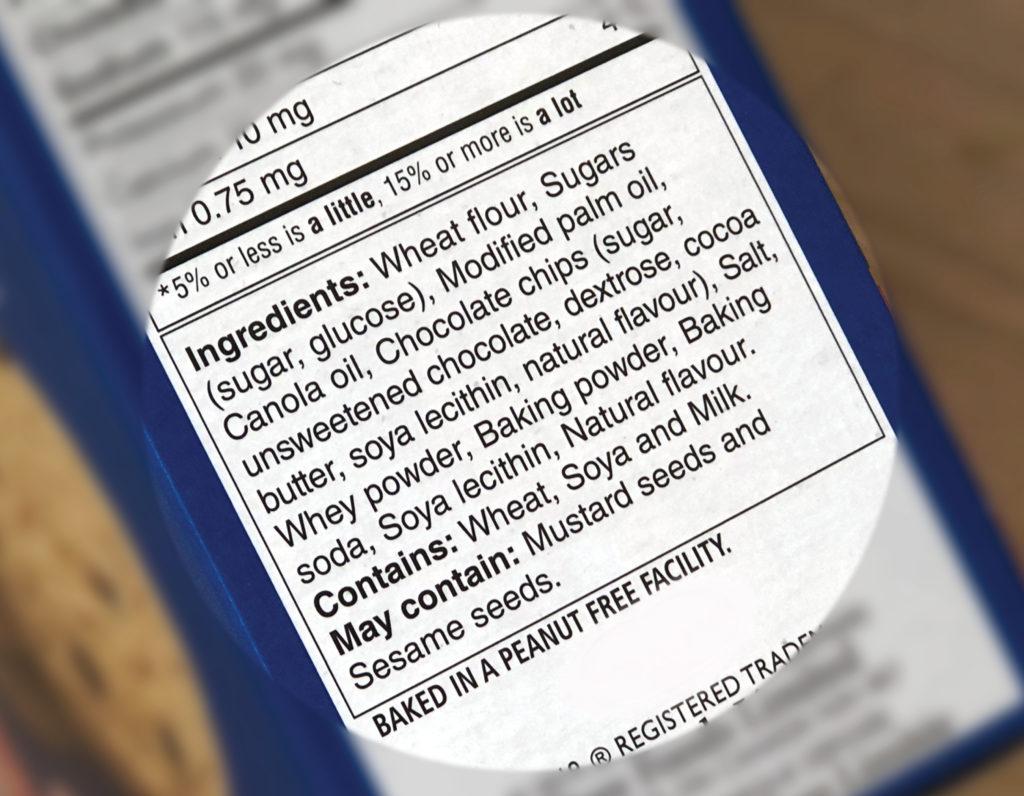 Product ingredient label