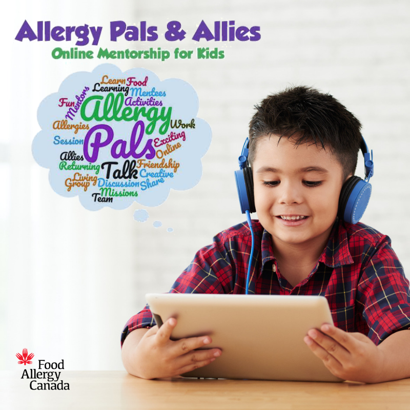 Allergy Pals and Allies online mentorship - boy on tablet