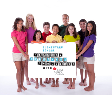 """Group of diverse students holding up a banner stating """"Elementary School Allergy Awareness Challenge with Food Allergy Canada"""""""