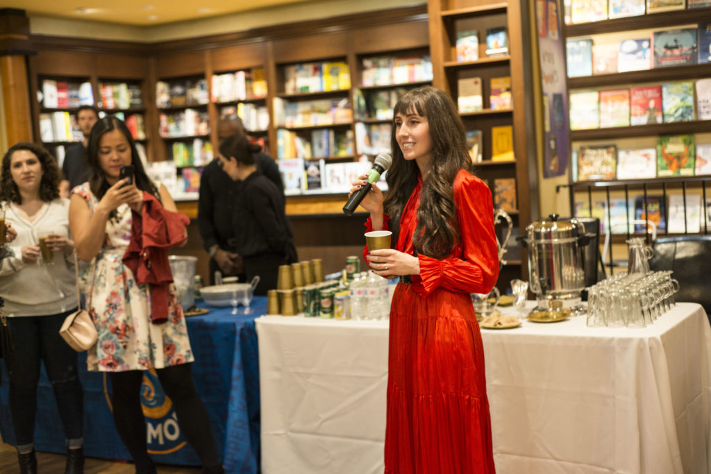 "Amanda Orlando at her book launch of ""Everyone's Welcome"""