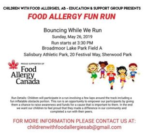 Food Allergy Fun Run Alberta poster