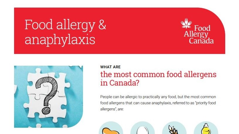 Food allergy and anaphylaxis patient sheet