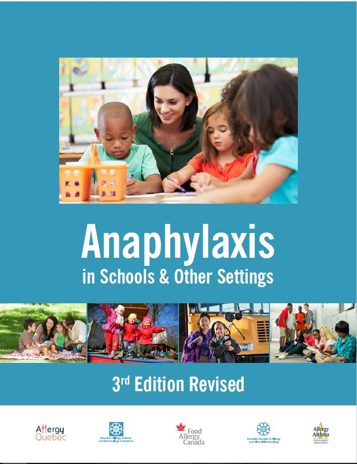 Cover page of Anaphylaxis in Schools and other settings, 3rd edition