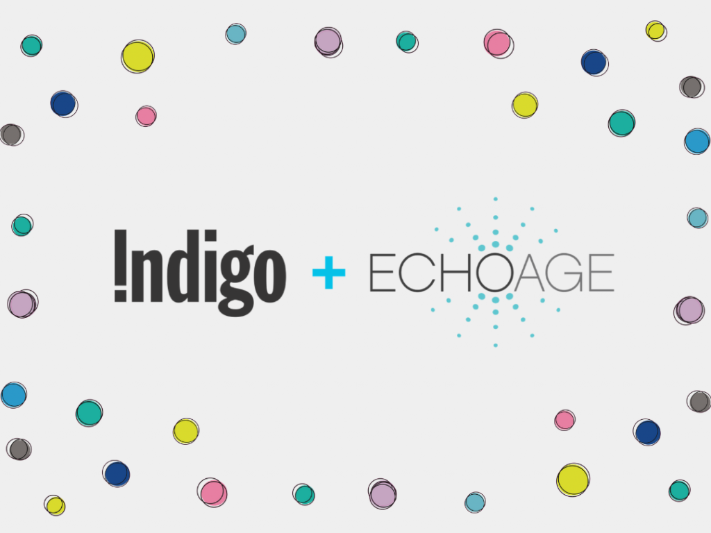 Indigo plus ECHOage surrounded by multicoloured dots