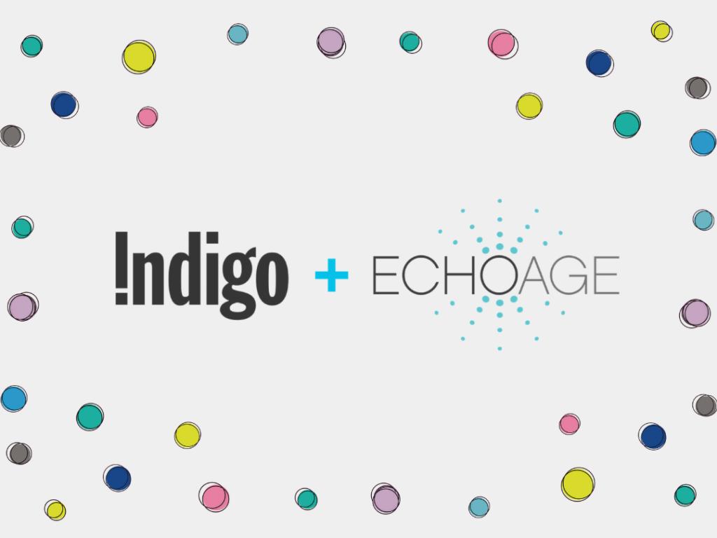 Indigo plus ECHOage surrounded by multicoloured dots
