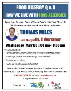 Youth with Food Allergy Q&A poster