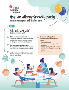 Allergy-friendly party tip sheet for hosts