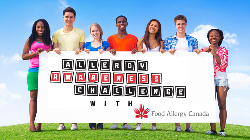 "Youth holding an ""Allergy Awareness Challenge"" sign."
