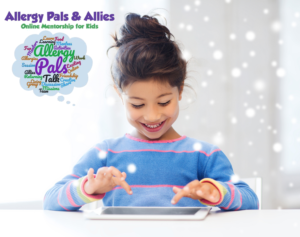 Girl on tablet. Allergy Pals/Allies winter session.