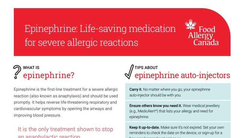 Epinephrine: Life-saving medication for severe allergic reactions patient sheet