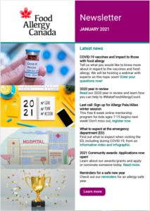 Food Allergy Canada's enewsletter - January 2021