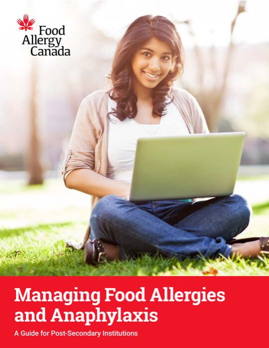 Post-secondary guide cover: Managing Food Allergies and Anaphylaxis