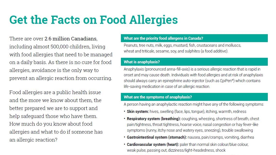Get the facts on food allergies sheet