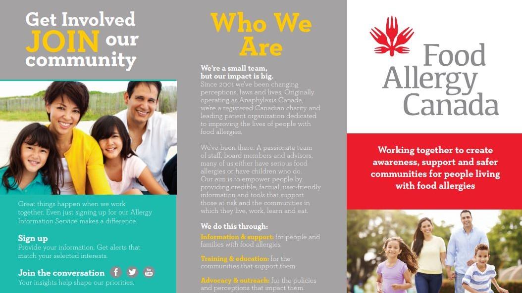 Food Allergy Canada brochure