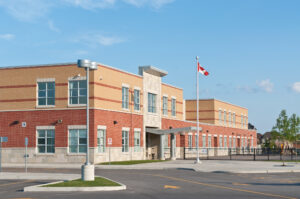 The outside of a Canadian elementary school building