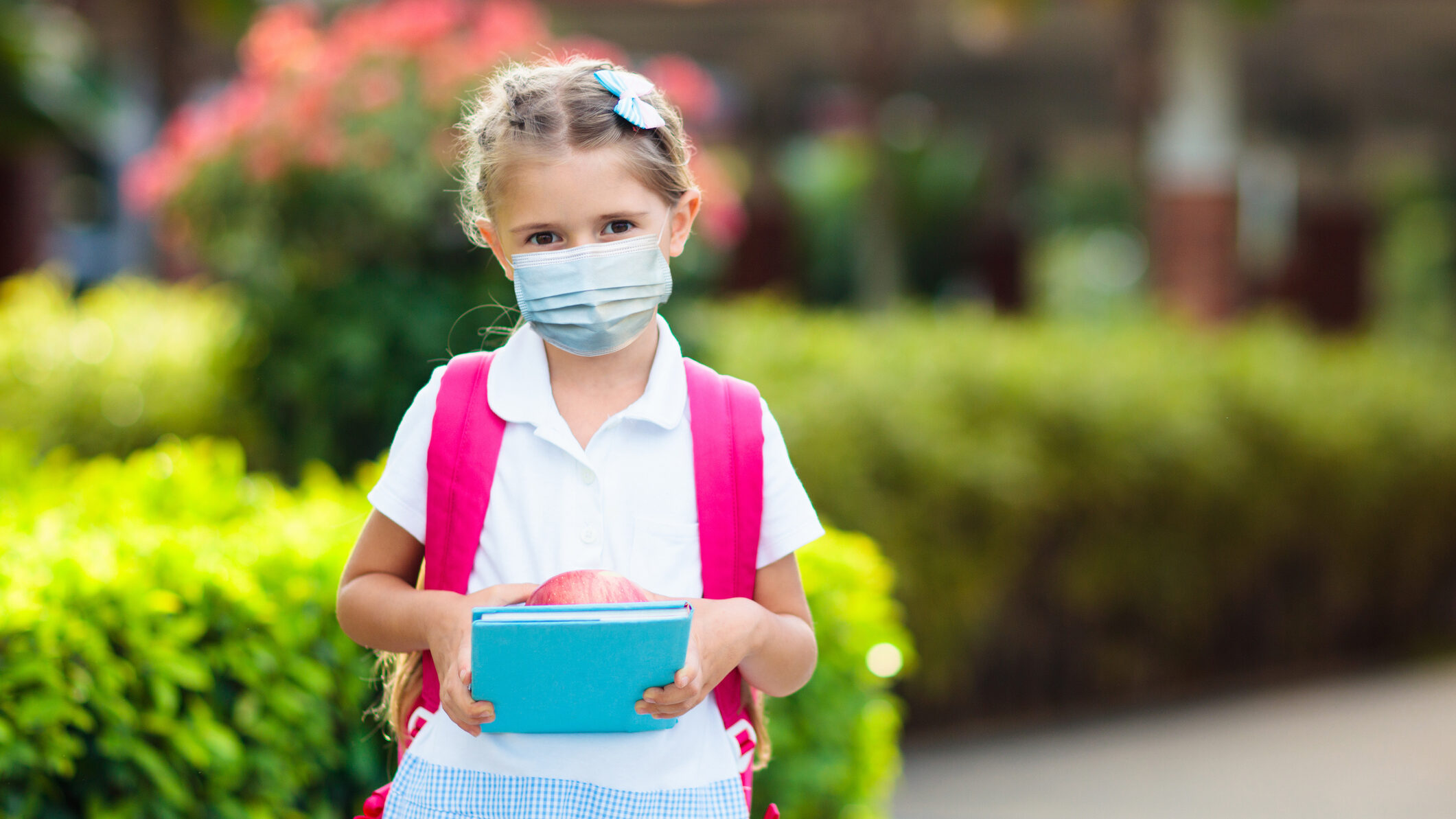 Child wearing face mask. Virus outbreak.