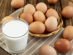Eggs and a glass of milk
