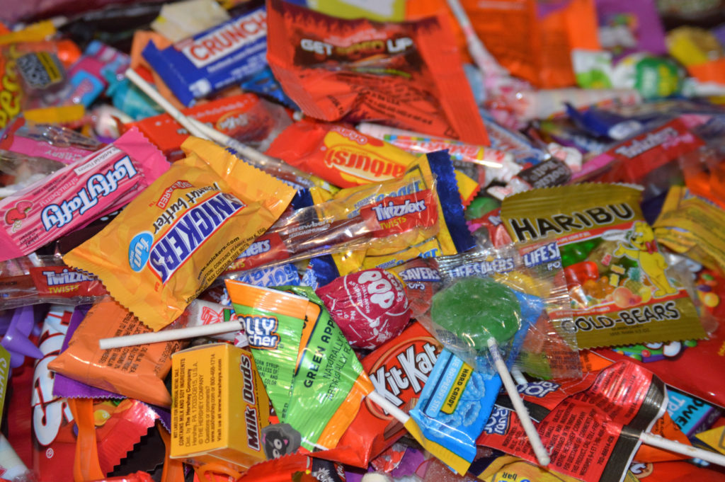 Pile of mixed packaged candy