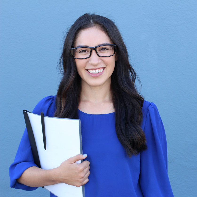 Stock image of female college student