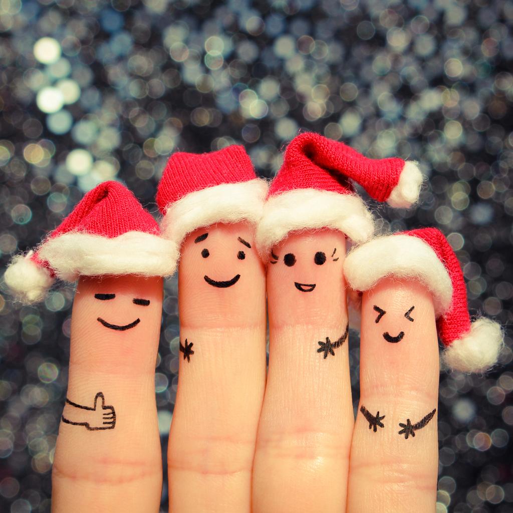 Finger art of friends celebrates Christmas.