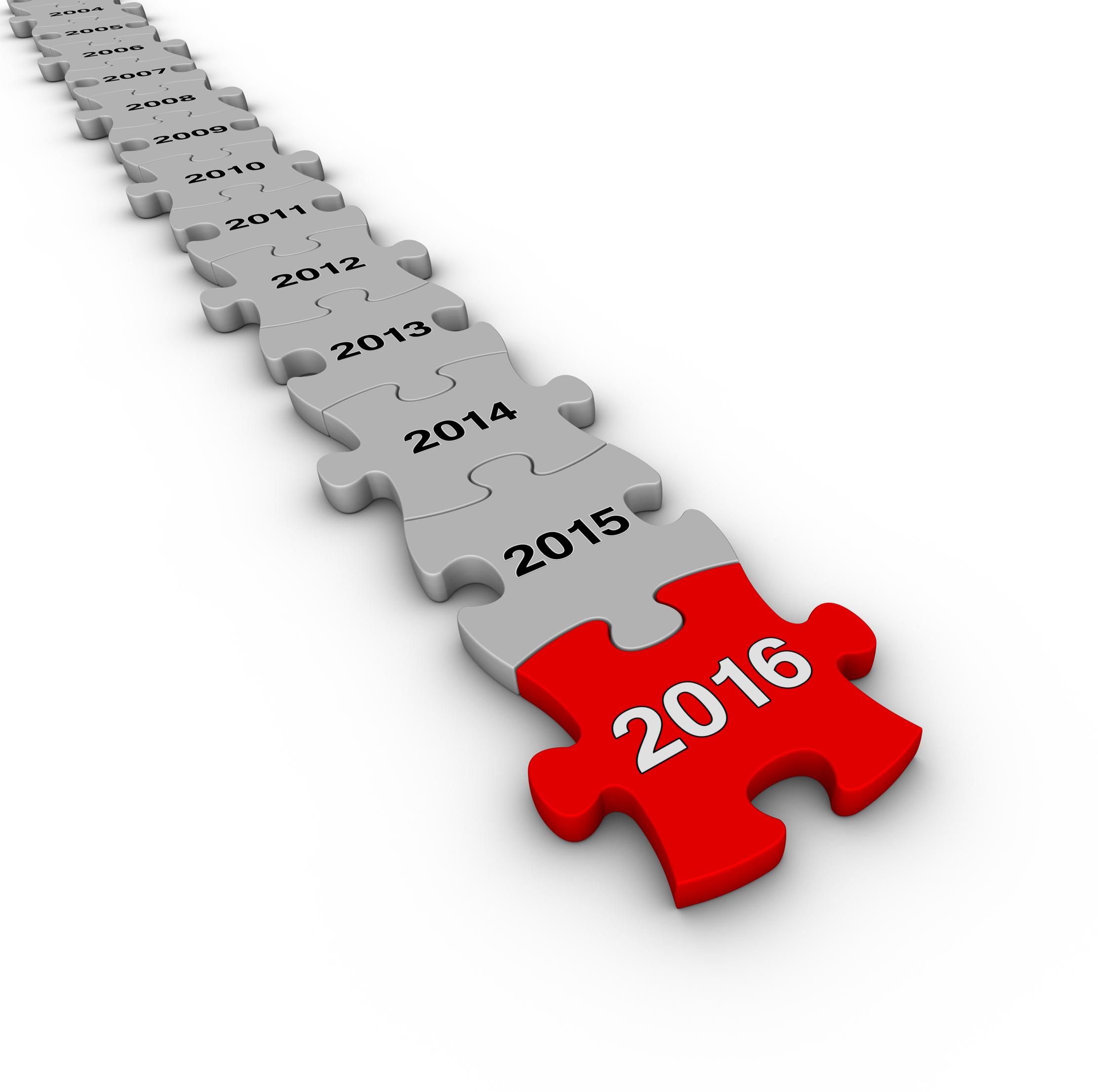 Happy New Year 2016. Jigsaw puzzle timeline.