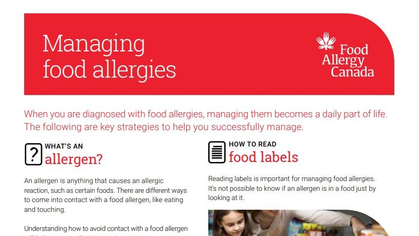 Managing food allergies patient sheet
