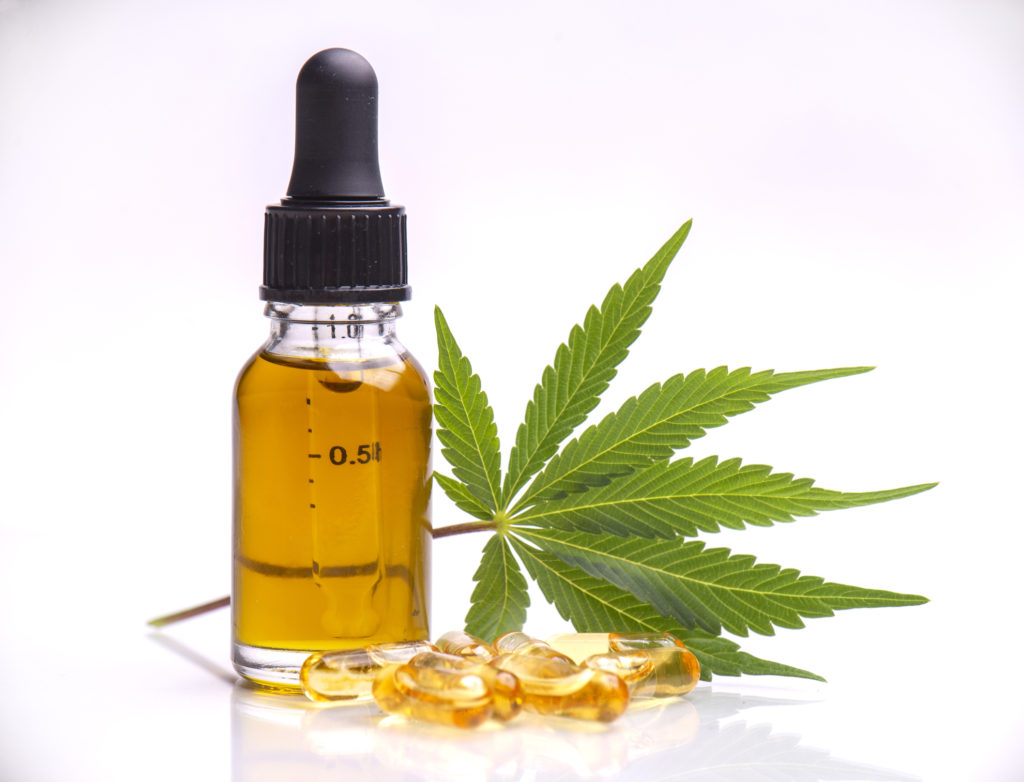 Assorted medical cannabis products isolated over white