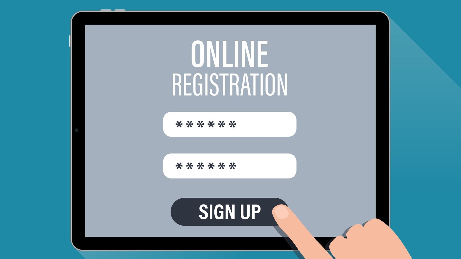Online Register page. Registration page on tablet screen.