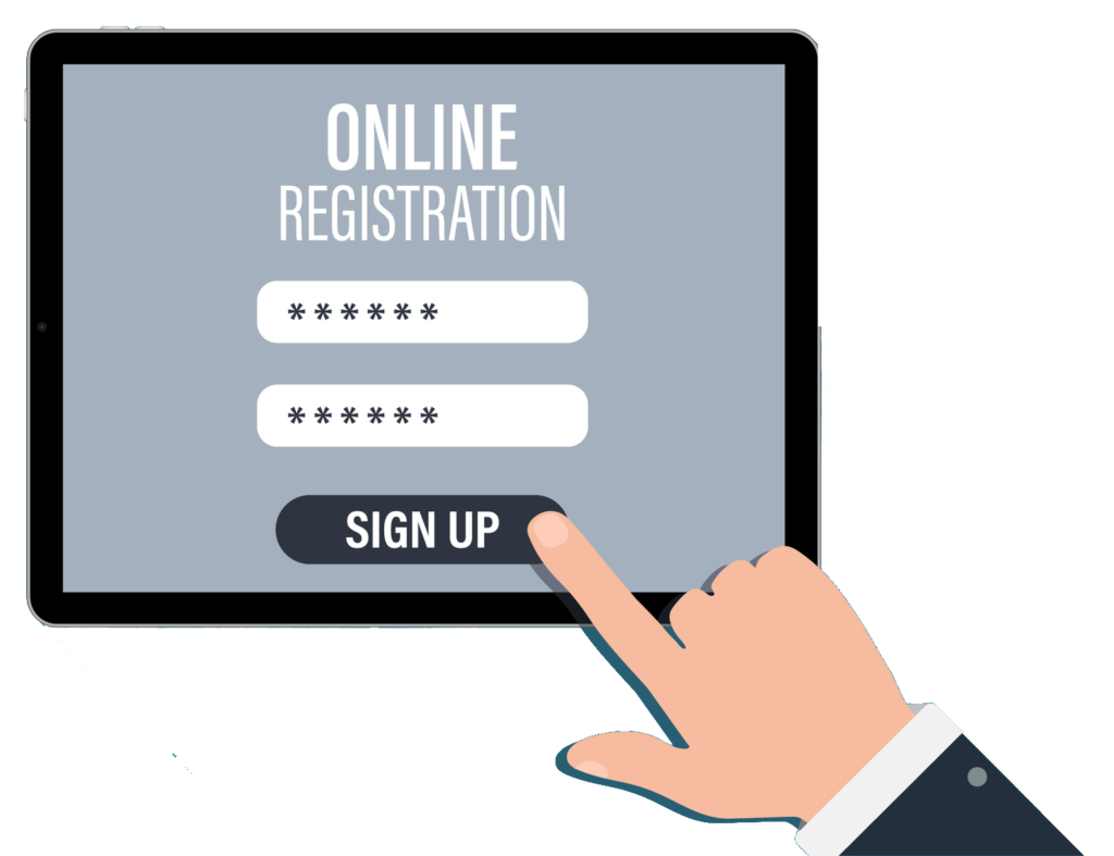 Sign up screen on tablet