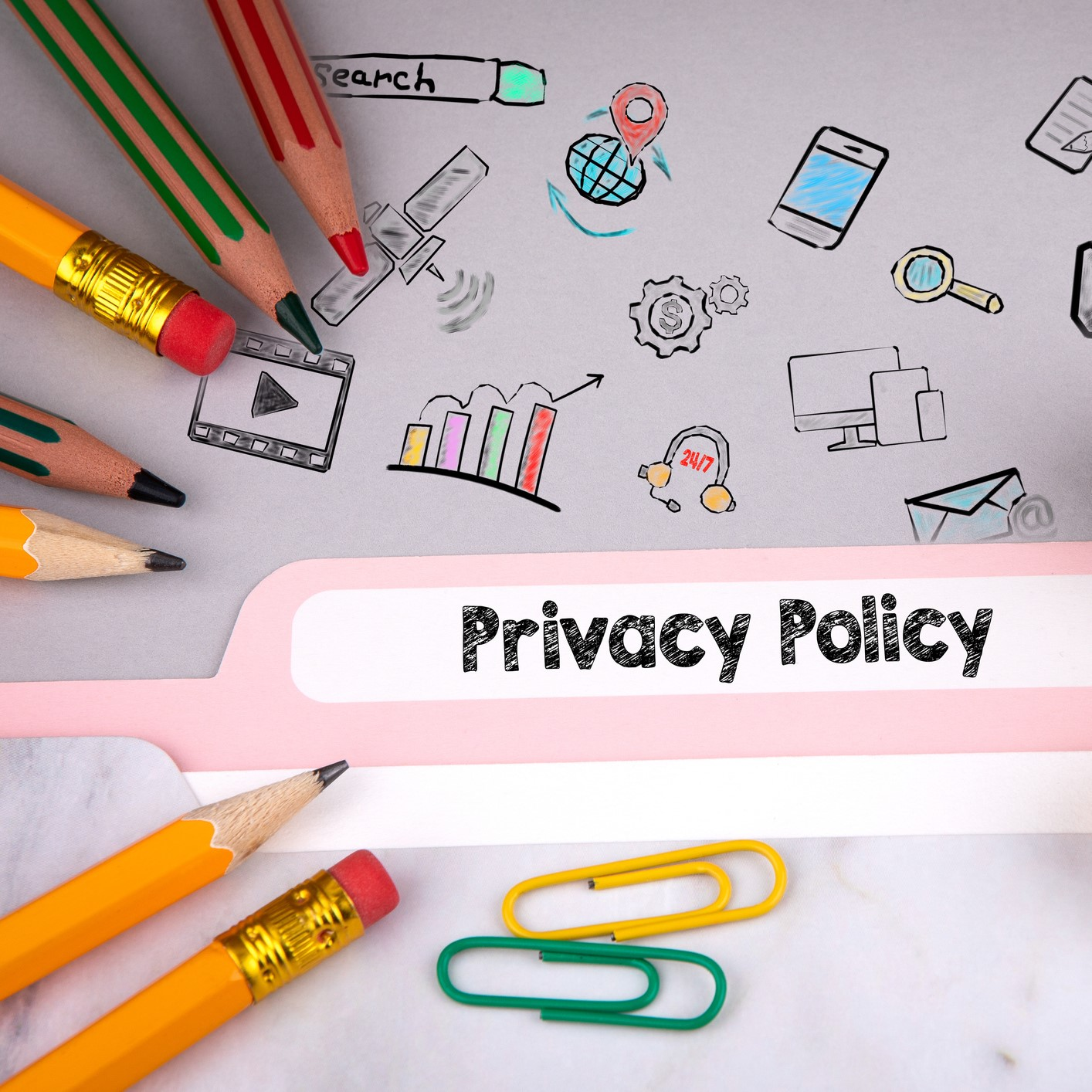 Privacy Policy concept, illustration and icons. Folder register on desk.