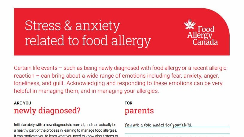 Stress and anxiety related to food allergy patient sheet